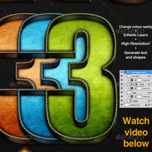 3D Photoshop Action Stitch Leather Effect