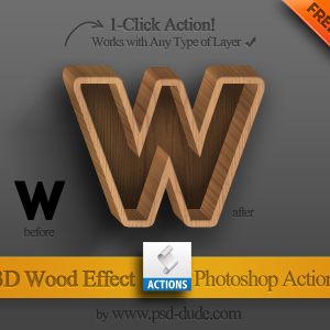 Texto De Madera 3D Accion de Photoshop