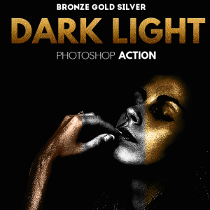 Dark Light Effect with Gold Silver and Bronze Skin Photoshop Action