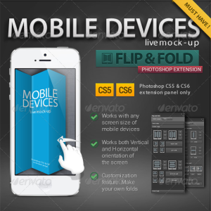 Flip and Fold Mock-up Mobile Device Photoshop Action