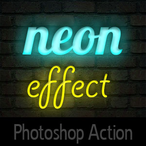 Neon Photoshop Action 3D Effects