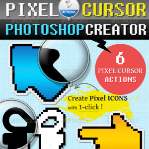 Pixel Cursor Icon Photoshop Action