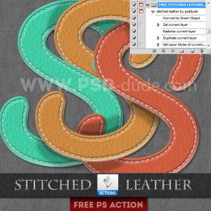 Stitched Leather Photoshop Free Action